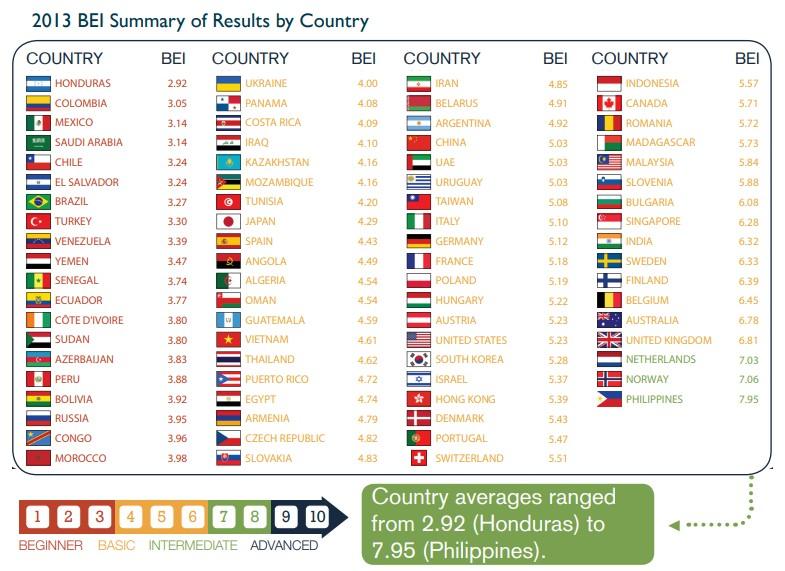 2013年 国別BEI結果サマリー