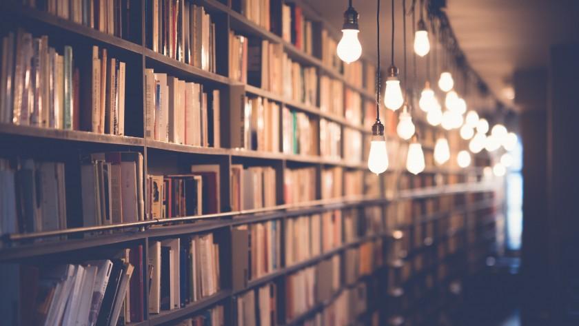 図書館にぶら下がったたくさんの電球
